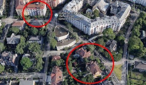 Gimle terrasse 9 (øverst til venstre), der Ingeborg Moræus Hanssen bor, og Gimle terrasse 6 + 8, der Morten Angelil bygger om og restaurerer to herskapsboliger, ligger cirka 110 meter fra hverandre.