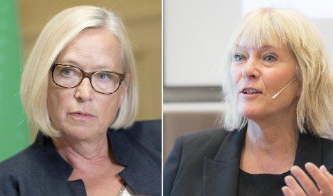 Marit Arnstad (til venstre) svarer Kristin Clemet i populisme-debatten.