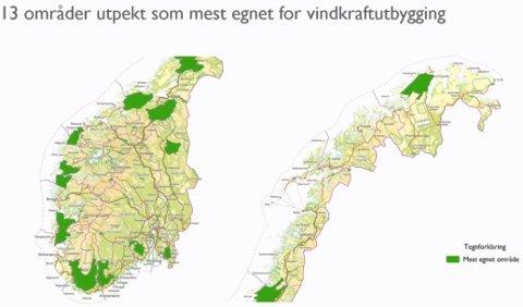 Her er de 13 områdene som er pekt ut som mest egnede for vindkraftutbygging av NVE.