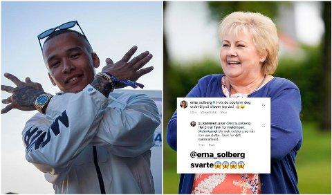 ERNA SVARTE: Etter flere oppfordringer til Erna Solberg om at hun måtte svare rapperen «Kamelen» på ASAP Rocky-spørsmål, tok Solberg grep.