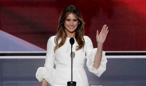Melania Trump, kona til den republikanske presidentkandidaten Donald Trump, på scenen under landsmøtet i Cleveland.