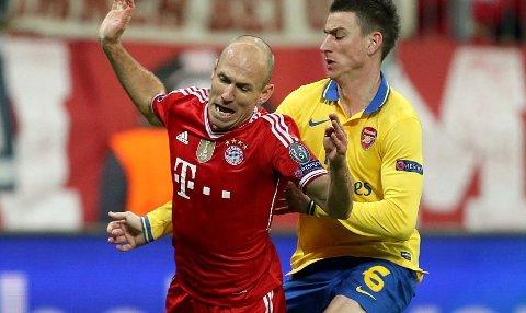SLO UT ARSENAL: Arjen Robben sikret blant annet straffe til Bayern München, da tyskerne slo Arsenal ut av Champions League tirsdag.