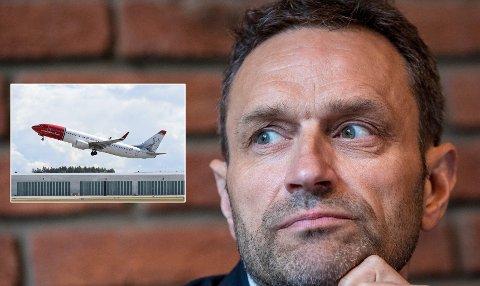 KLIMABELØNNING: MDGs talsperson Arild Hermstad (innfelt) vil tirsdag morgen legge frem alternativt statsbudsjett med dyrere flyturer og bensin. Som kompensasjon får alle utbetalt «klimabelønning».