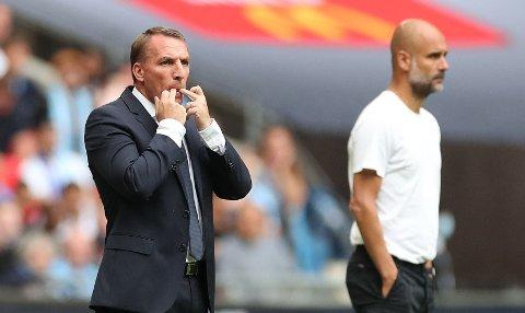 RETT UT I TITTELKAMP: Leicester-manager Brendan Rodgers og Manchester Citys Pep Guardiola.