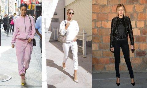 TREND: Både Rihanna, Rosie Huntington Whiteley og Gigi Hadid har hevet seg på trenden med helfarger. Foto: Bulls