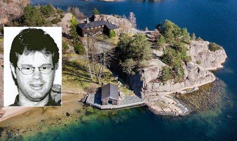 Strandeiendommen til Einar Aas (innfelt) i Grimstad er på tvangssalg for 25 millioner kroner.