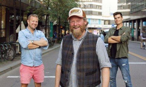 """Esben Ullbæk Bundgaard-Jørgensen """"Dansken"""" Selvig, Petter Schjerven og Fredric Aasbø er programledere for Top Gear Norge."""