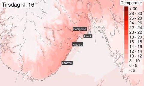 PROGNOSER: Temperaturprognosene for tirsdag er gode nyheter for deg som vil nyte sol og varme.