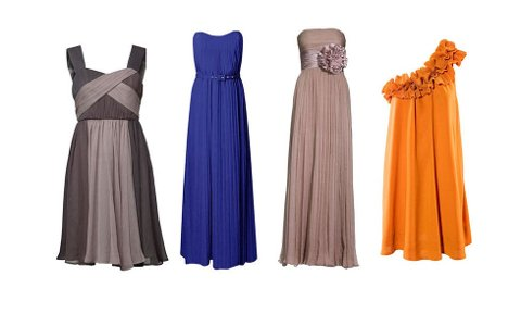 Knekort, tofarget kjole fra MQ (kr 799), blå, lang kjole fra Frenchconnection.co.uk (£ 155), lang, sandfarget kjole fra Riccovero (kr 2999), kort, fargesterk kjole fra H&M (kr 399).