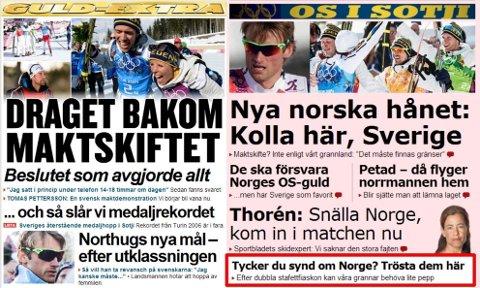 EN TRØSTEPROTOKOLL: På aftonbladet.se kan svenskene komme med trøstemeldinger til nordmennene etter stafettfiaskoene.
