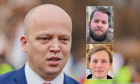REAGERER:Torleik Svelle (øverst til høyre) går hardt ut motSondre Hansmarks (nederst til venstre) utspill om Trygve Slagsvold Vedum som statsminister.