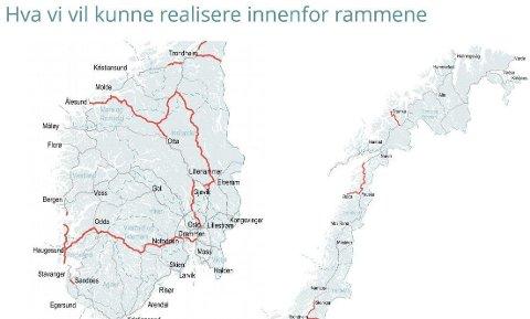 Dette er veiene Nye Veier spiller inn som anbefalinger når nye Nasjonal Transportplan skal lages.