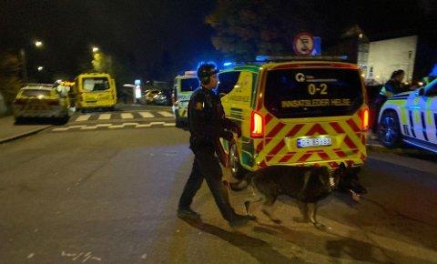 SØKER GJERNINGSPERSON(ER): Politiet har satt inn betydelige ressurser på Mortensrud etter at en ung mann ble skutt torsdag kveld.