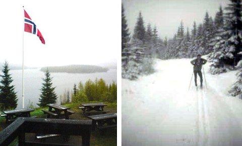 SNØ: Slik ser det ut i Nordmarka akkurat nå. Bildene er fra Kikut (t.v) og på vei opp til Oppkuven. Skiløper er Stein Hansen.