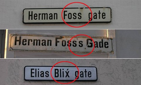 I GATESTOKKEN? Herman Foss' gate skulle det vel være. Og hvordan havnet de apostrofen over Blix?