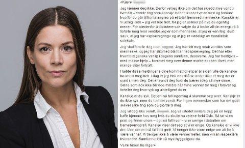 ÅPENT BREV: Inger Silka Zadig har skrevet et åpent brev til mannen som kalte henne ei fitte etter hun uttalte seg i media om politiets ressursprioriteringer.
