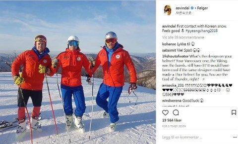 I SØR-KOREA: Alexander Aamodt Kilde, Kjetil Jansrud og Aksel Lund Svindal er på plass i Pyeongchang hvor de i februar skal kjempe om OL-medaljer.