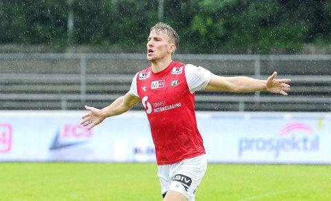 Joacim Holtan bøtter inn mål for Bryne denne sesongen. Han har scoret seks må på de fire første kampene i 2. divisjon. Foto: Tarjei Sel, Jærbladet