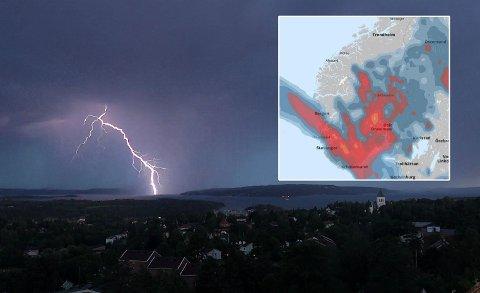 De neste 24 timene er det fare for kraftige regn- og tordenbyger Sør- og Østlandet.