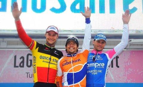 De tre vise menn: Tom Boonen (f.v.), Oscar Freire og Alessandro Petacchi kunne entre podiet etter årets Milano-Sanremo.