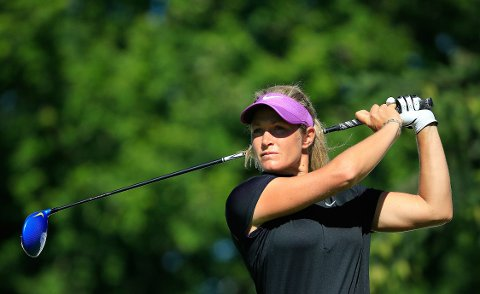 KONSENTRERT: Suzann Pettersen spilte tidvis meget godt på den første runden av Cambia Portland Classic i Oregon torsdag.