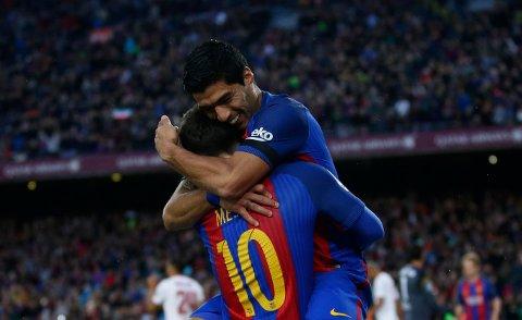 JUBEL:Luis Suarez og Lionel Messi hadde god grunn til å juble onsdag.