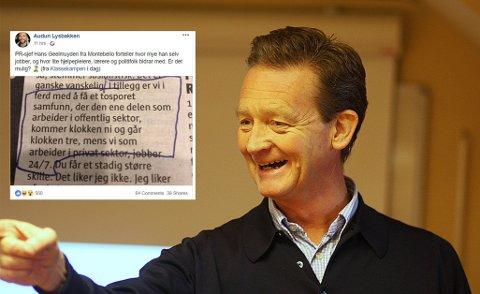 SKAPER REAKSJONER: Hans Geelmuyden fyrer av mot offentlig ansatte - som ikke kjenner seg igjen i beskrivelsen. FOTO: Jarle Vines/Creative Commons , faksimile
