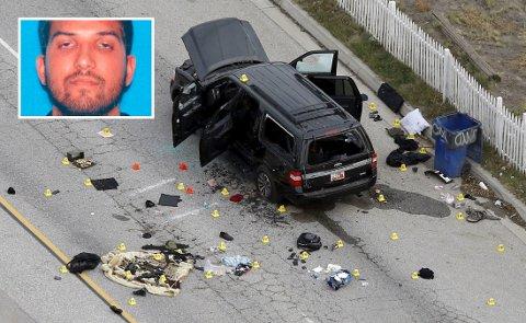 Syed Rizwan Farook (innfelt) og kona Tashfeen Malik ble skutt og drept av politiet noen timer etter massakren i San Bernardino i California.