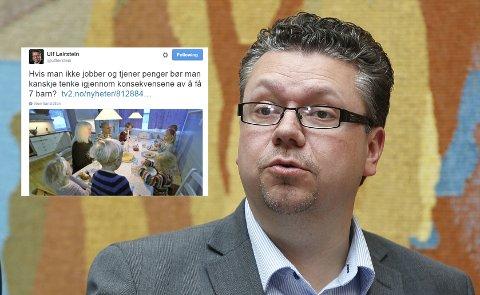 UT MOT SJUBARNSFAMILIE: Frps Ulf Leirstein gikk lørdag ut mot en sjubarnsfamilie som frykter for økonomien når regjeringen kutter i støtten.