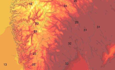 ÅRETS VARMESTE? Torsdag kan det blli ny varmerekord, med temperaturer godt oppå 30-tallet.