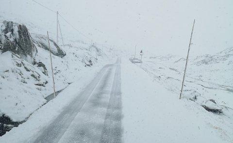 Det er snø og vanskelige kjøreforhold på flere fjelloverganger i Sør-Norge søndag. Her et bilde fra Sognefjellet tidligere i høst. Arkivfoto: Torstein Nordal / NTB scanpix