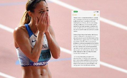 ROPER VARSKU: Katarina Johnson-Thompson tok til motmæle mot IOC i en uttalelse lagt ut på Twitter.