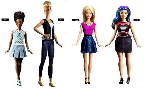 ULIKE FORMER: Nå kommer dukkene i fire forskjellige former, og i en rekke ulike stiler. Foto: Barbie.com