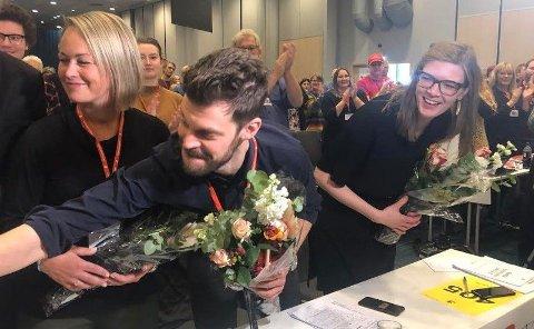 Her er den nyvalgte Rødt-ledelsen: Fra venstre 2. nestleder Silje Josten Kjosbakken, Bjørnar Moxnes og 1. nestleder Marie Sneve Martinussen.