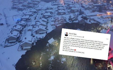 TAKK FOR HJELPEN: Flyktningefamilien fra Syria fikk hjelp fra Norge - nå vil de gjøre gjengjeld og hjelpe rasofrene fra Gjerdrum.