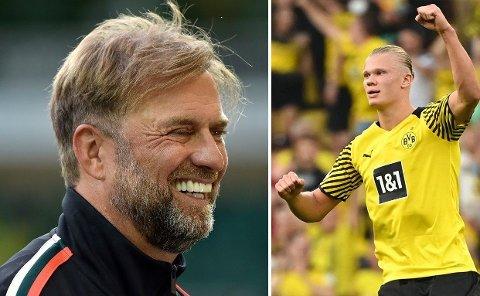 LAR SEG UNDERHOLDE: Liverpools manager Jürgen Klopp følger godt med på hva erling Braut Haaland presterer i hans tidligere klubb Borussia Dortmund.