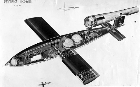 Tversnitt av V-1 flyvende bombe.