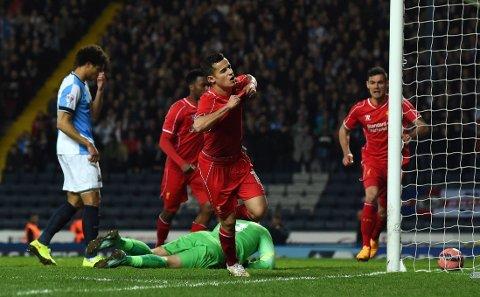 MATCHVINNER: Philippe Coutinho jubler for sitt mål.