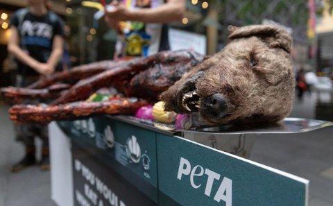 AKSJON: Dyrevernorganisasjonen PETA grillet en lekehund på åpen gate i Sydney. Det får de kritikk for.