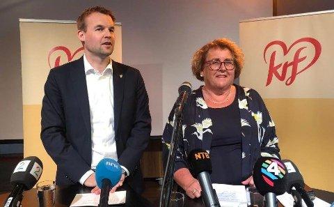 KrF-toppene Kjell Ingolf Ropstad og Olaug Bollestad møtte pressen før landsmøtet til helgen.