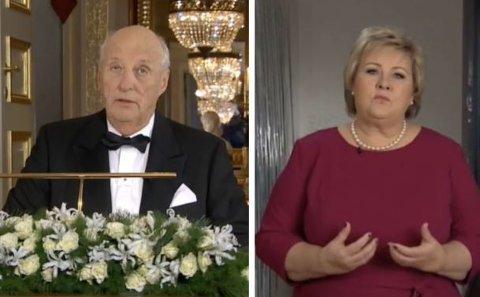 Nyttårstalene fra kong Harald og statsminister Erna Solberg går inn i en lang tradisjon i Norge. Skjermdump NRK.