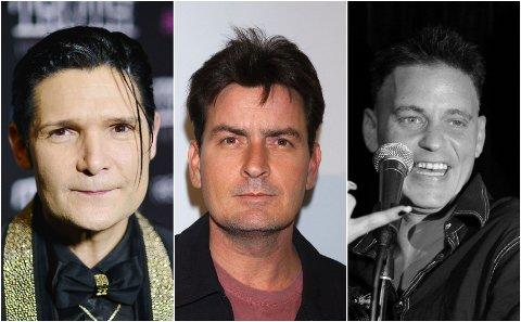 ANKLGER: I sin nye dokumentar anklager Corey Feldman (t.v) Charlie Sheen (midten) for å ha forgrepet seg på den avdøde skuespilleren Corey Haim (t.h.) Sheen nekter og mener anklagene er «bisarre og forskrudde».