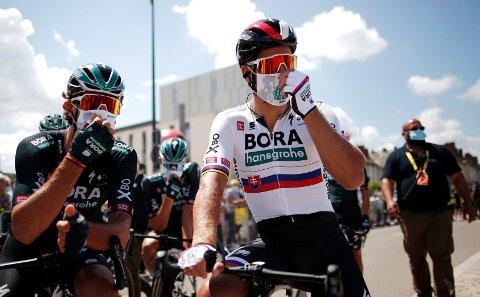FERDIG i TOUREN: Den slovakiske sykkelstjernen Peter Sagan (til høyre).