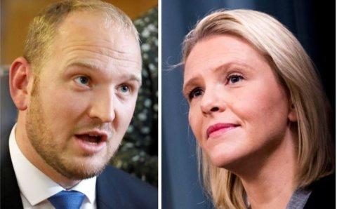 Både bompengene til Jon Georg Dale (til venstre) og innvandringsutspillene til Sylvi Listhaug kan ha slått tilbake. Nå blir Listhaug igjen joker - som eldreminister.