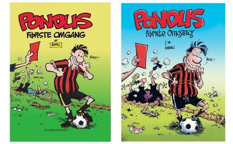 Pondus-boken Første omgang med sitt originale, gamle cover (til venstre) og det nye, oppdaterte (til høyre)