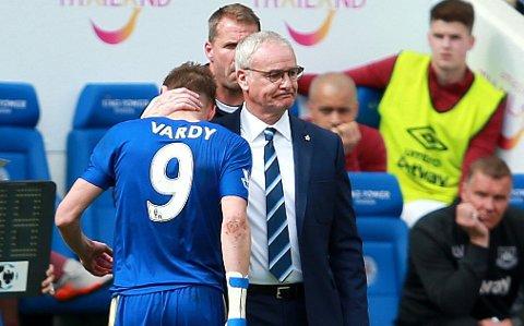 LITE GUNSTIG: Jamie Vardy ble utvist i forrige ligakamp mot West Ham. Karantenen til superspissen gir hodebry for manager Claudio Ranieri og Premier Leagues sensasjonelle topplag.