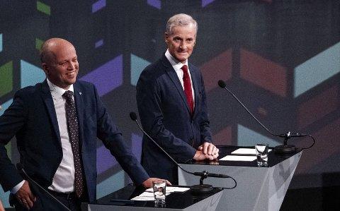 HVEM SMILER MEST? Senterpartiets Trygve Slagsvold Vedum (t.v.) kan allerede være større enn Arbeiderpartiets statsministerkandidat, Jonas Gahr Støre.