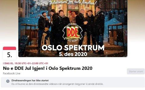 FALSK: Dette Facebook-arrangementet hevder å tilby streaming av DDE-konsert i Oslo Spektrum lørdag 5. desember. Problemet er bare at konserten er avlyst.