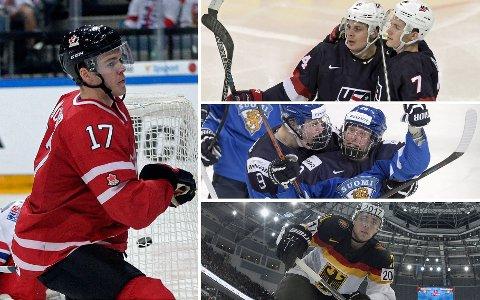 NY GENERASJON: Ishockey-VM i Russland kan by på mange av verdens største talenter. Til venstre: Connor McDavid (Canada). Til høyre fra toppen: Auston Matthews (USA), Patrik Laine (Finland), Leon Draisaitl (Tyskland).