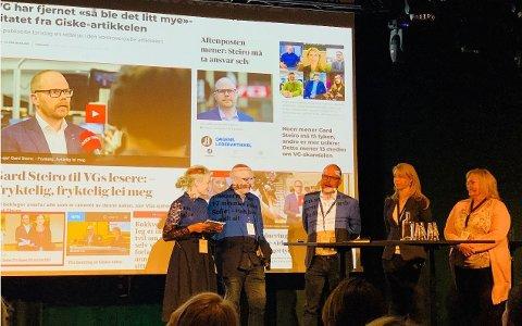VG-redaktør Gard Steiro (i midten), sammen med ordstyrer Elin Stueland, utvalgsleder Sven Egil Omdal, Alexandra Beverfjord i Dagbladet og Marit Ulriksen i Rana Blad.